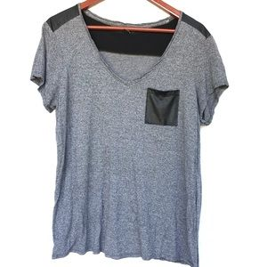 Charcoal Grey Top W/ Faux Leather Pocket Xl